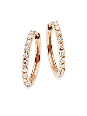 Diamond & 18K Rose Gold Huggie Hoop Earrings