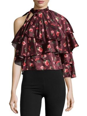 One-Shoulder Ruffled Top Lea   Viola