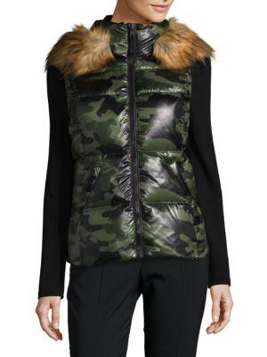 Snowcat Faux Fur-Trimmed Puffer Vest S 13/NYC
