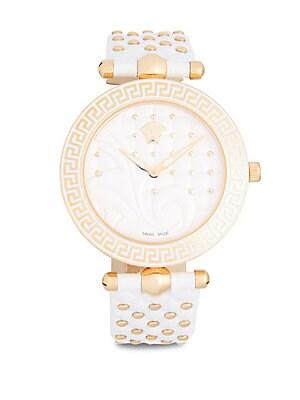 Rose Gold Quartz Leather Bracelet Watch