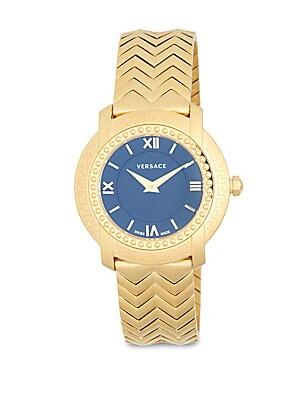 Stainless Steel Chevron Patterned Bracelet Watch