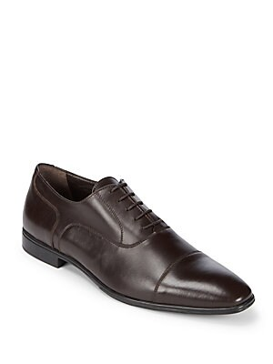 Leather Cap Toe Oxford Shoes