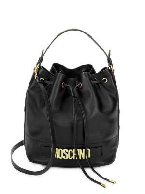 Drawstring Leather Bucket Bag Moschino