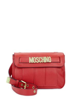 Magnetic-Flap Leather Crossbody Bag Moschino