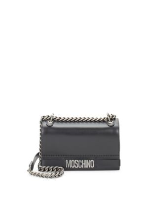 Chained Leather Crossbody Bag Moschino