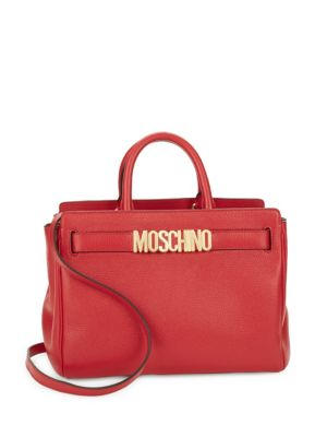 Convertible Leather Satchel Moschino