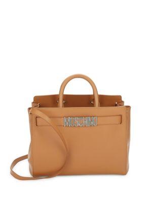 Open Top Leather Satchel Moschino