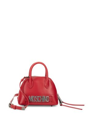 Dome Leather Satchel Moschino