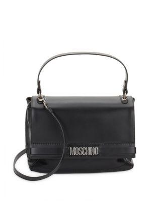 Leather Flap Satchel Moschino