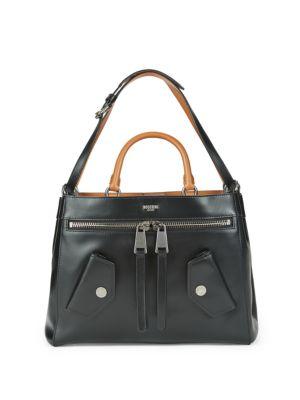 Top Lock Leather Satchel Moschino