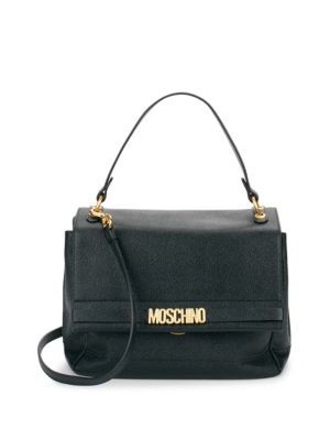 Textured Leather Flap Satchel Moschino