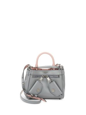 Double Snap Leather Shoulder Bag Moschino