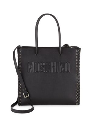 Stitched Leather Tote Moschino