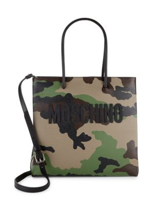 Camouflage Leather Tote Moschino