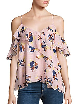 Abstract Floral Chiara Cold Shoulder Top