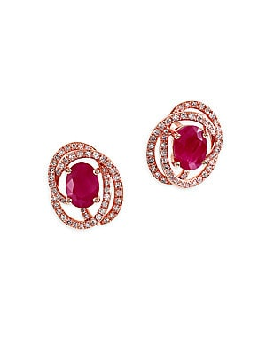 Ruby, Diamond and 14K Rose Gold Earrings