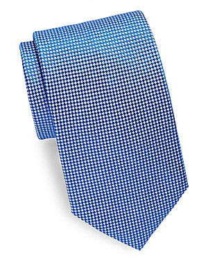 Mini Check Print Silk Tie