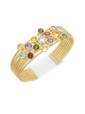 18K YELLOW GOLD & GEMSTONES CUFF BRACELET