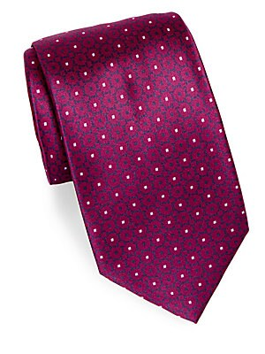 Narrow Floral Silk Tie
