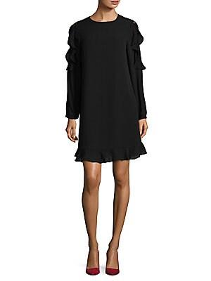 Ruffle Long Sleeve Shift Dress