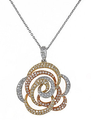 Click here for Diamond  14K White  Yellow And Rose Gold Flower Pe... prices