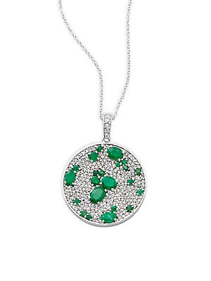 Click here for Diamond  Emerald & 14K White Gold Solid Fill Chain... prices