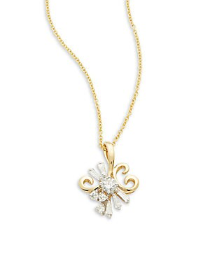 Click here for Diamond & 14K Yellow Gold Solid Fill Chain Necklac... prices