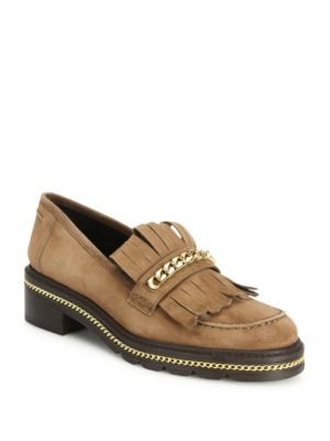 CHAIN & SUEDE KILT LOAFERS