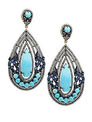 Champagne Diamond, Turquoise, Blue Sapphire & Sterling Silver Earrings