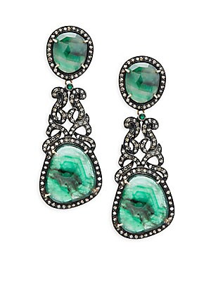 Champagne Diamond, Emerald & Sterling Silver Pave Earrings
