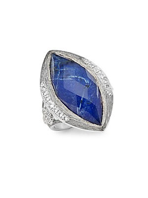 Encore Silver Crystal & Sterling Silver Large Marquise Stone Moroccan Ring