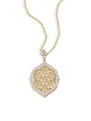 18K Yellow Gold Moroccan Lace Pendant Necklace