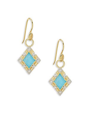 Lisse Diamond & 18K Yellow Gold Kite Stone Charms Earrings