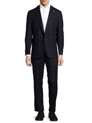 Box Striped Wool Suit Lubiam