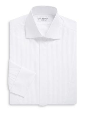 Cotton Tuxedo Shirt with Pleats Yves Saint Laurent