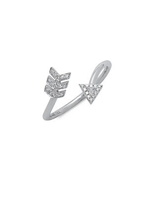 Click here for 14K White Gold Arrow Statement Ring prices