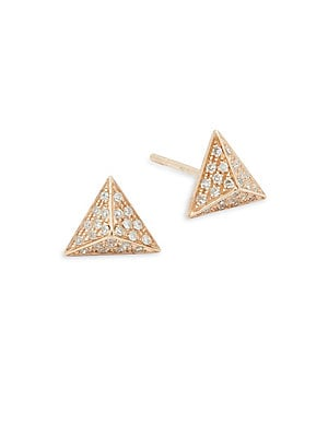 Diamond & 14K Rose Gold Pyramid Stud Earrings