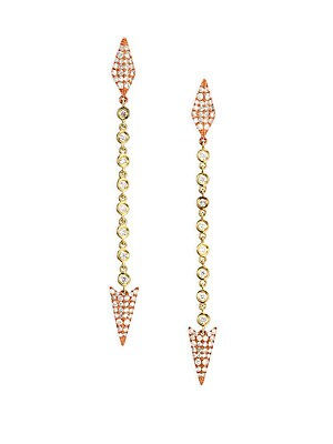 Diamond & 14K Yellow & Rose Gold Arrow Drop Earrings