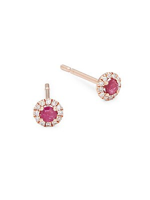 Ruby, Diamond & 14K Rose Gold Earrings