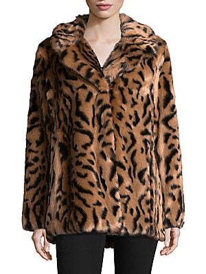 7 for all mankind female faux fur long sleeve jacket