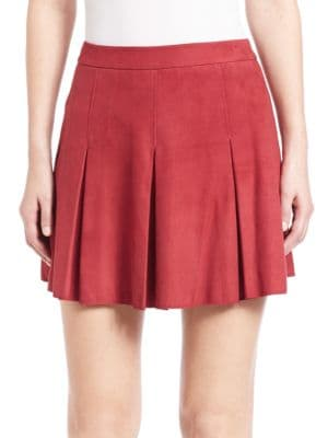 Lee Pleated Leather Skirt Alice   Olivia