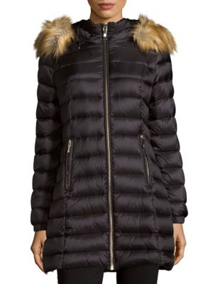 Faux Fur-Trimmed Puffer Jacket Kate Spade New York