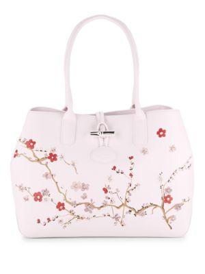 Roseau Sakura Leather Shoulder Bag Longchamp