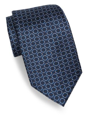 Repeating Circle Print Silk Tie