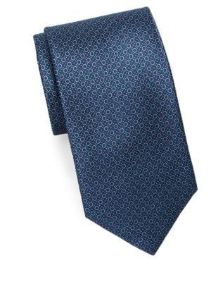 Mini Circle Print Silk Tie