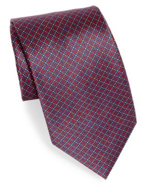 Mini Circle Print Silk Tie