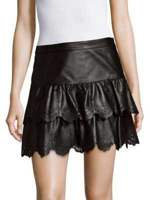 Ciara Leather Skirt Parker