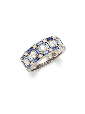 Click here for Vintage Sapphire  Diamond & 18K White Gold Fancy R... prices