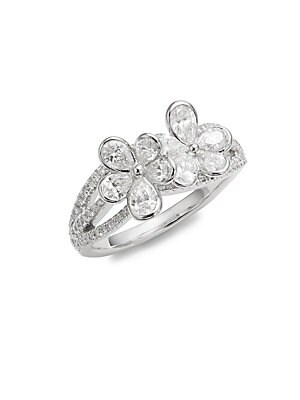 Click here for Cluster Diamond & 18K White Gold Flower Ring prices