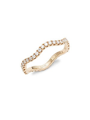 Click here for Wave Diamond & 18K Rose Gold Wedding Ring prices